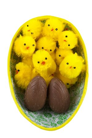 Picture of a easter egg with some easter chickens in Stock Photo
