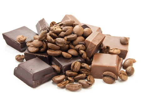 caffeine: Picture of coffe beans and chocolate on a white background