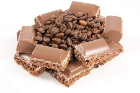 coffeebeans: Chocolate castle with coffeebeans Stock Photo