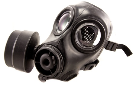 Picture of a rubber gasmask used to protect.
