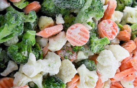 defrost: Picture of a bunch of mixed frozen vegetables