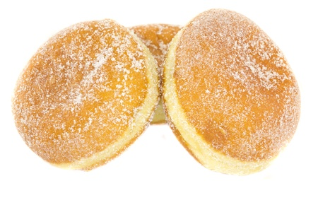 A picture of three jelly donuts on a white background