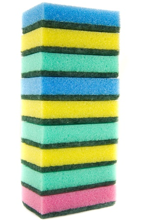 A picture of several stacked kitchen sponges photo