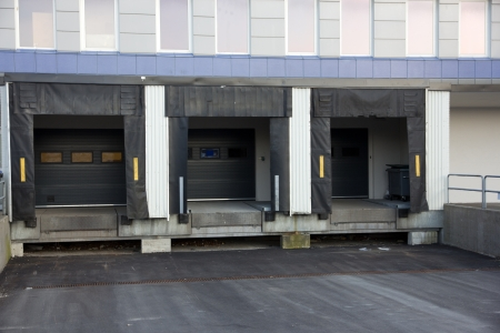 Picture of three loading docks used for trucks to unload goods photo
