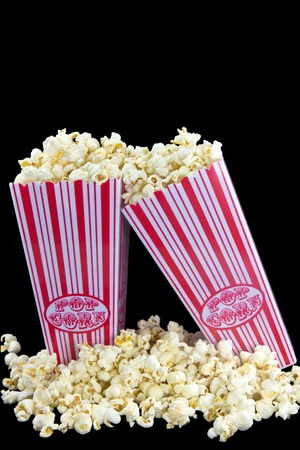Picture of two popcorn baskets where one of them is hanging on the other Stock Photo - 17742869
