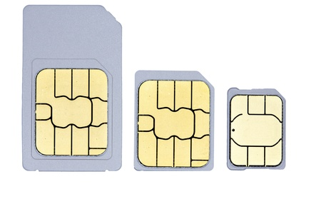 A close up picture of one mini-sim, one micro-sim and one nano-sim  Stock Photo