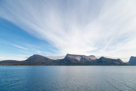 Picture of mountains with blue sea and sky Stock Photo
