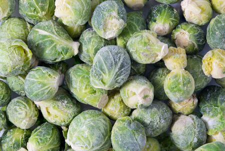 Picture of a bunch of frozen sprouts