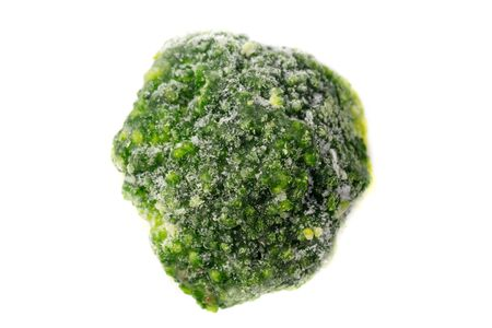 Close up picture of a frozen broccoli