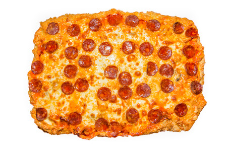 Picture of a big homemade pepperoni pizza