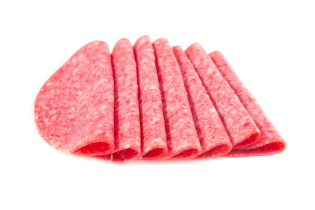 Picture of several slices of salami arranged