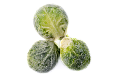 Picture of three single frozen green sprouts Stock Photo