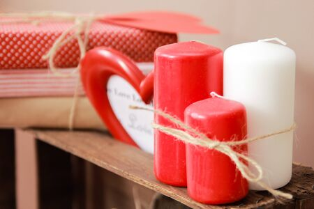 cosily: candles for interior decoration Stock Photo