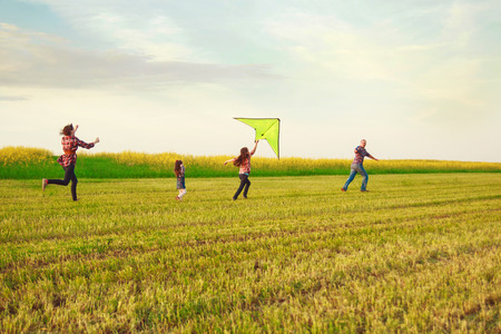 sky grass: Family launches a kite in the field Stock Photo