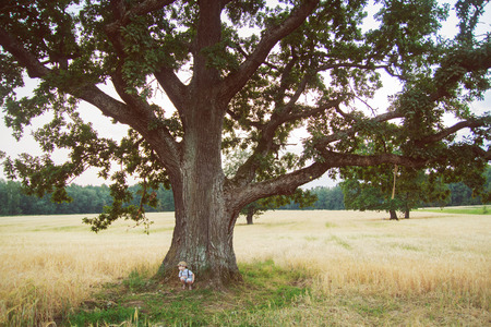 kid stands near a tree