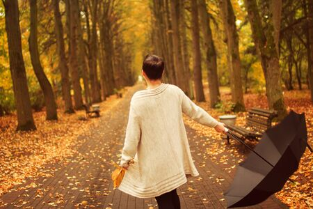 path to romance: girl with an umbrella in the park
