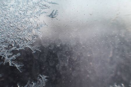 snow pattern on the glass from frost