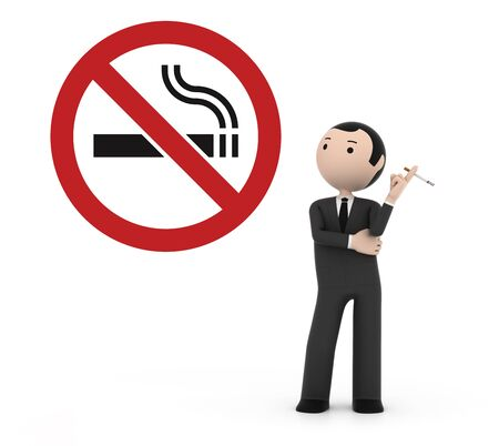 prohibitions: Man smoking in a prohibited place for smoking