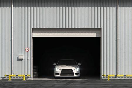 Car in the garage with roller shutter door. 3d render Foto de archivo