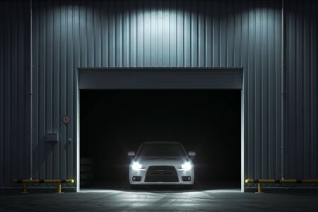Car in the garage with roller shutter door at night. 3d render