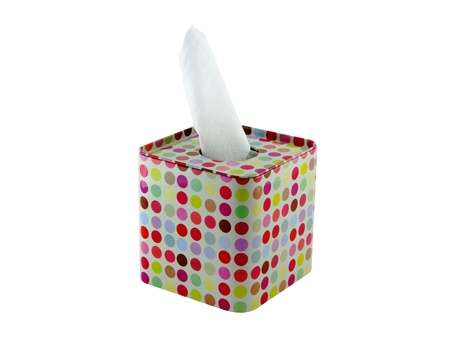 Tissue roll in a colorful stainless box photo