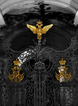 doubleheaded: The Gates of Hermitage with double-headed eagle Stock Photo