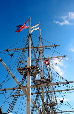 seafaring: Jurado de m�stiles y cuerdas de velero  Foto de archivo