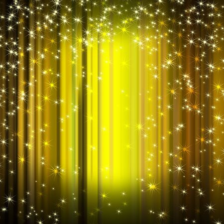 descending: snowflakes and stars descending on golden background