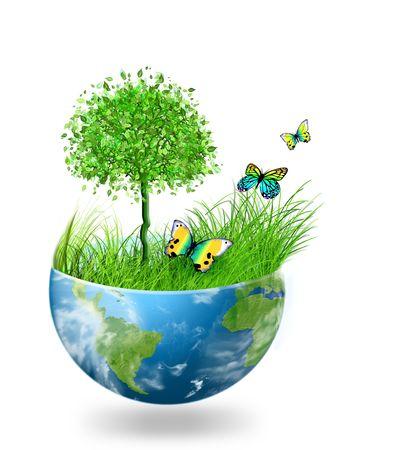 Wereld bol op een witte achtergrond, milieu energie concept Stockfoto