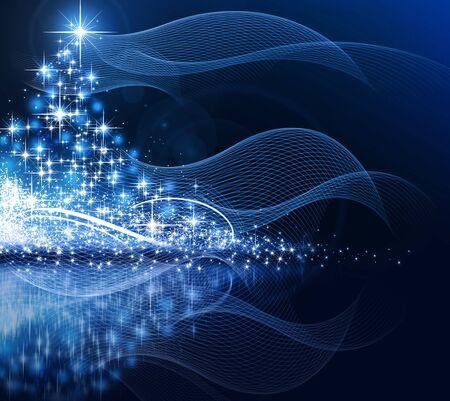 holiday season: Christmas blue tree, beautiful snowflakes and shining stars