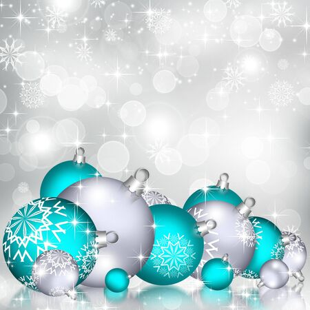 Background with Christmas baubles, beautiful snowflakes and shining stars