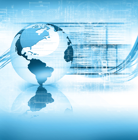 software company: Best Internet Concept of global business. Globe and glowing lines on technological background. Connection Electronics, Wi-Fi, rays, symbols Internet, television, mobile and satellite communications Stock Photo