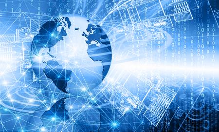 zeměkoule: Nejlepší internetový koncept globálního podnikání. Globe, zářící čáry na technologické zázemí. Elektronika, Wi-Fi, paprsky, symboly Internet, televize, mobilní a satelitní komunikace. Technologie ilustrace