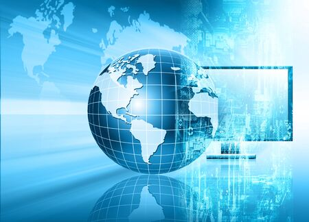 business globe: Best Internet Concept of global business. Globe, glowing lines on technological background. Electronics, Wi-Fi, rays, symbols Internet, television, mobile and satellite communications. Technology illustration