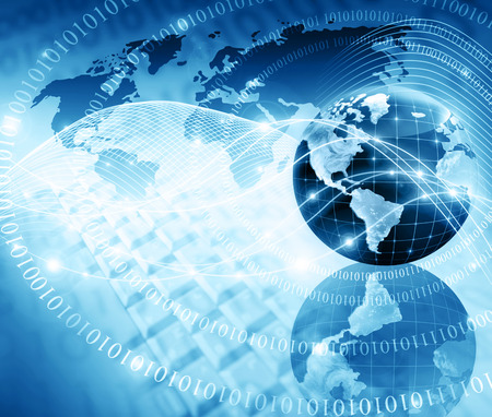 Best Internet Concept of global business. Globe, glowing lines on technological background. Electronics, Wi-Fi, rays, symbols Internet, television, mobile and satellite communications. Technology illustration