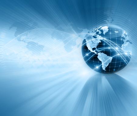 El mejor concepto del Internet de asunto global. Globo, líneas brillantes en el fondo tecnológico. Electrónica, Wi-Fi, rayos, símbolos de Internet, televisión, comunicaciones móviles y por satélite. Ilustración Tecnología Foto de archivo - 45614162