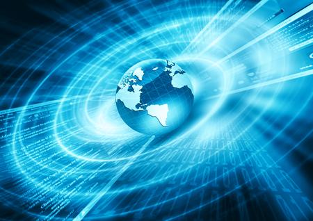 Meilleur Concept de l'entreprise mondiale de l'Internet. Globe, lignes élogieuses sur fond technologique. Electronique, Wi-Fi, des raies, des symboles internet, télévision, communications mobiles et par satellite. Technologie illustration