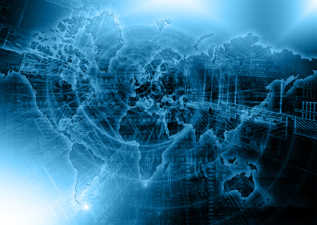 global communication: Abstract blue background. Technology background, from series best concept of global business