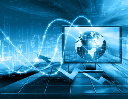 background information: Best Internet Concept. Globe, glowing lines on technological background. Electronics, Wi-Fi, rays, symbols Internet, television, mobile and satellite communications. Technology illustration