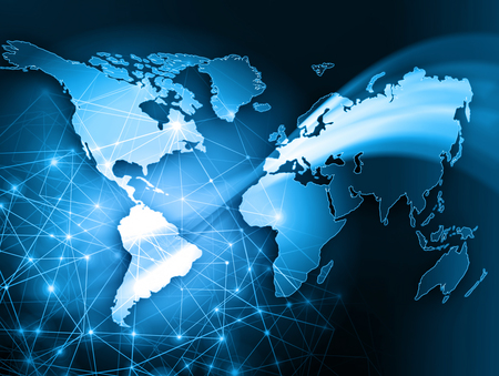 imaginary line: World map on a technological background, glowing lines symbols of the Internet, radio, television, mobile and satellite communications. Internet Concept of global business