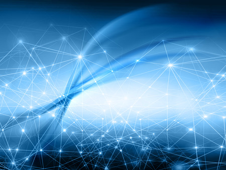 network connection: Abstract blue background, beautiful lines and blur