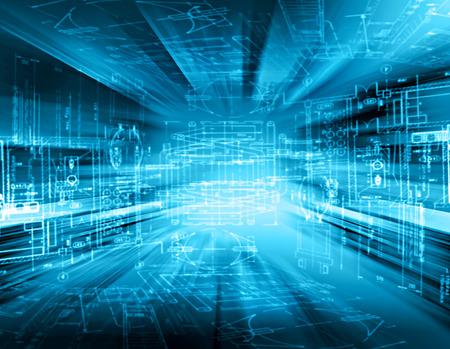 抽象的な青い背景。技術背景に、シリーズ最高のグローバル ビジネスの概念