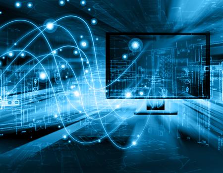 Лучший Интернет-концепции глобального business.Technological фоне. Электроника, Wi-Fi, лучи, символы Интернет, телевидение, мобильная и спутниковая связь