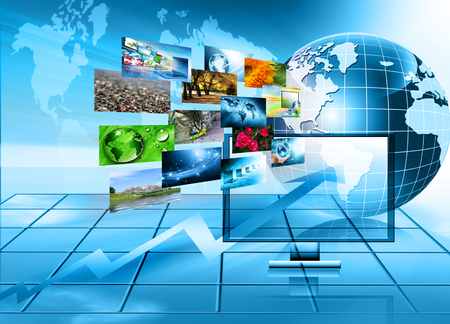 flatscreen: Television and internet production technology concept. Best Internet Concept of global business Stock Photo