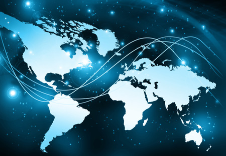 global: World map on a technological background, glowing lines symbols of the Internet, radio, television, mobile and satellite communications. Internet Concept of global business