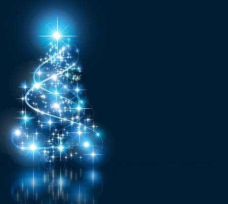 Christmas blue tree, beautiful snowflakes and shining stars