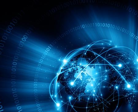 Beste Internet Concept. Globe, gloeiende lijnen op technologische achtergrond. Elektronica, Wi-Fi, stralen, symbolen internet, televisie, mobiele en satellietcommunicatie. Technologie illustratie