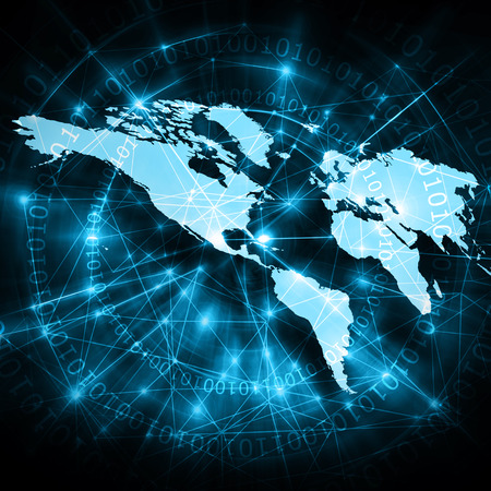 imaginary line: World map on a technological background, glowing lines symbols of the Internet, radio, television, mobile and satellite communications. Internet Concept of global business. Elements of this image furnished by NASA Stock Photo