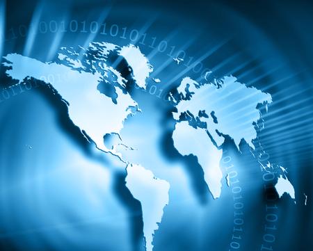 Carte du monde sur un fond technologique Banque d'images