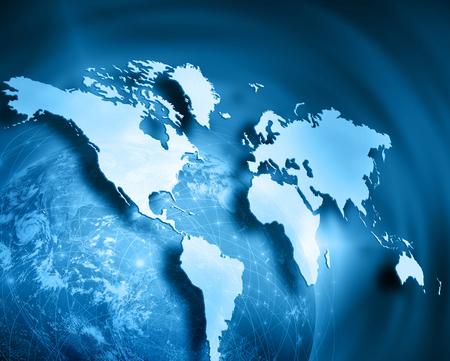 empresas: Mapa del mundo sobre un fondo tecnol�gico Foto de archivo